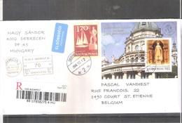 Lettre Recommandée De Hongrie Vers La Belgique - 2006 - Avec Bloc Basilique (à Voir) - Hongrie