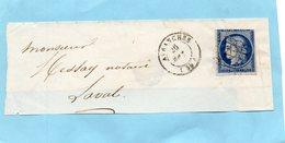 N° 4 Oblitération Grille (touché),cachet 15 AVRANCHES-devant De Lettre Du 26 Mars 1851. - Postmark Collection (Covers)