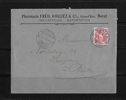 HEIMAT BERN → 1908 Brief Murten Pharmacie Fréd.Golliez Morat Nach Basel - Suisse