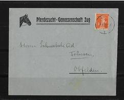 HEIMAT ZUG → 1923 Brief Mit Inhalt Pferdezucht-Genossenschaft Zug Nach Obfelden - Suisse