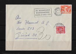 NACHPORTO → 1954 Brief Basel Nach Zürich  Mit Plus 30 Rappen Strafporto - Portomarken