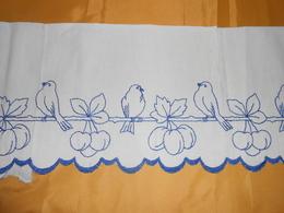 Devant De Cheminée  - Tissu Coton Brodé  -  4,20  X 0,20  M - - Dentelles Et Tissus