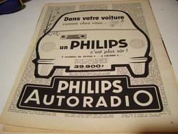 ANCIENNE PUBLICITE AUTORADIO  PHILIPS 1958 - Musique & Instruments
