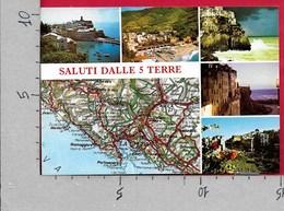 CARTOLINA VG ITALIA - Saluti Dalle 5 Terre - Vedutine Multivue - Cartina Geografica - 10 X 15 - ANN. 1998 - Saluti Da.../ Gruss Aus...