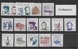 MICRONESIE - SERIE COURANTE COMPLETE (1984/1986) - YVERT N° 1/16 +28 + 34 ** MNH - COTE = 65 EUR. - Micronésie