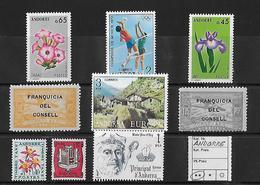 ANDORRE → 9 Stamps With Franquicia Del Consell (Correu Aeri) - Andorre Espagnol