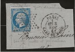 FRAGMENT AFFRANCHI N° 22 AVEC VARIETE DECALAGE DENTELURE + OBLITERATION ETOILE PARIS -1867 - 1862 Napoleon III