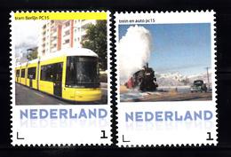 Trein, Train, Locomotive, Eisenbahn Nederland Tram In Berlijn + Oude Stoomtrein En Auto - Treinen