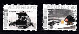 Trein, Train, Locomotive, Eisenbahn Nederland Tram In Zandvoort + Sein In De Sneeuw - Treinen