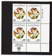 RAN166 VEREINTE NATIONEN UNO WIEN 1991 Michl 116 ECKRAND-VIERERBLOCK ** Postfrisch SIEHE ABBILDUNG - Wien - Internationales Zentrum