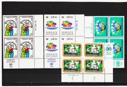 RAN169 VEREINTE NATIONEN UNO WIEN 1985/87 Michl 49/50+73/74 ECKRAND-VIERERBLOCK ** Postfrisch SIEHE ABBILDUNG - Wien - Internationales Zentrum