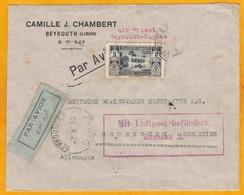 1932 - Enveloppe Par Avion De Beyrouth Vers Gruenberg, Allemagne Par Ligne Air Orient B-Naples, Italie Puis - Gran Libano (1924-1945)