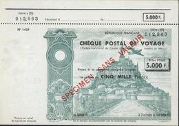 Chèque Postal Voyage Bon Pour 5000 Fr Spécimen Sans Valeur Vue Verte Mont St Michel Avion Cachet à Sec 1 1 53 Paris RF - Assegni & Assegni Di Viaggio