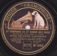 78 Trs - 30 Cm - Etat TB - 3me SYMPHONIE EN UT MINEUR AVEC ORGUE (Saint Saëns) 1re Et 2e Parties - 78 T - Disques Pour Gramophone