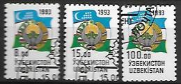 OUZBEKISTAN    -   1993 .   Y&T N° 26 / 27 + 29 Oblitérés.   Emblèmes Nationaux - Ouzbékistan