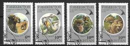 OUZBEKISTAN    -   1995 .   Y&T N° 61A à 61D  Oblitérés.  Chameau / Pélican / Singe / Ours - Ouzbékistan
