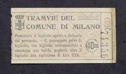 Collezionismo - Biglietto Tram Di Milano - Anni '50 - Vieux Papiers