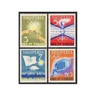 Albania 1964 Olympics Tokyo Lighting Olympic Games Torch Globes Flag Stadium Sports Stamps MNH SC 730-733 Michel 823-826 - Albania