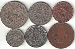 Sierra Leone Collection Of 6 Coins 1964-1995 All Listed & Different - Sierra Leone