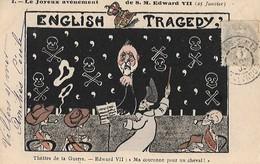 """CARICATURE POLITIQUE SATIRIQUE  :  AVENEMENT  D'  EDOUARD  VII  .  ENGLISH  TRAGEDY  """"  (  THEATRE  DE  LA  GUERRE )  . - Satiriques"""