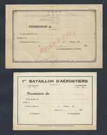 MILITARIA PERMISSION MILITAIRE DU 1er BATAILLON D AÉROSTIERS VIERGE : - Documenten