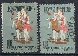 Viñetas Guerra Civil Pro Infancia 1937, Generalitat, VARIEDAD Color º/* - Viñetas De La Guerra Civil