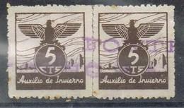 Par Viñetas Guerra Civil 5 Cts AUXILIO De INVIERNO, Lineal FONTE... º - Viñetas De La Guerra Civil