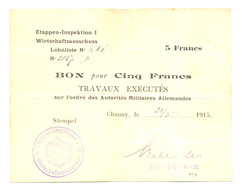 5 FRANCS OCCUPATION ALLEMANDE - COMMUNE DE CHAUNY - Bons & Nécessité