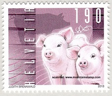 """Schweiz Suisse 2013: """"Pet-Animals: Ferkel Cochon Pig"""" Zu 1480 Mi 2312 Yv 2235 ** Self-adhesive MNH (Zu CHF 4.50) - Agriculture"""
