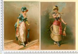 2 CHROMOS LITHOS..GRAND FORMAT...H  18 Cm    JEUNES FEMMES ÉLÉGANTES AVEC UNE OMBRELLE - Vieux Papiers
