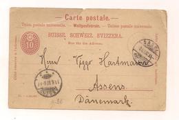 Postkarte - Ganzsache - 9.8.1892 - Von Basel Nach Assens Dänemark - Interi Postali