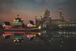 Postcard Brunei Mahalicai Stone Religious Barge On Left Masjid Omar Alisaifuddin On Right  My Ref  B23182 - Brunei