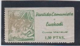 EUZKADI.  EDIFIL 60 *.  1,50 PTAS VERDE PARTIDO COMUNISTA. - Viñetas De La Guerra Civil