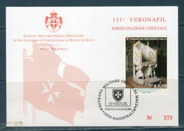 S.M.O.M 2018 Veronafil Special Obliterations - Sovrano Militare Ordine Di Malta