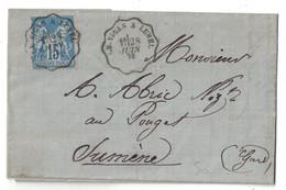 """1878 - CACHET ONDULÉ AMBULANT CONVOYEUR """" LE VIGAN À LUNEL """" Sur LETTRE LAC SAGE 15c Pr POUGET SUMENE - Poststempel (Briefe)"""