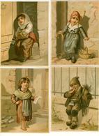 4 CHROMOS LITHOS..GRAND FORMAT...H 14 Cm  ...IMP. BOGNARD...ENFANTS PAUVRES SOUFFRANT DU FROID - Vieux Papiers