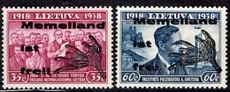 Memel émission Locale De 1939 Michel N° III Et IV Neufs ** MNH. TB. A Saisir! - Occupation 1938-45