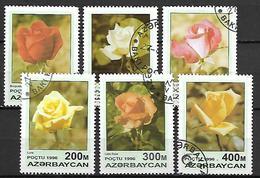 AZERBAIDJAN   -   1996 .  Y&T N° 282 à 287 Oblitérés .  Fleurs  /  Roses.   Série Complète. - Azerbaïdjan