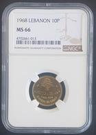 MA - Lebanon 1968 10 P Coin - NGC MS66 Uncirculated - Lebanon
