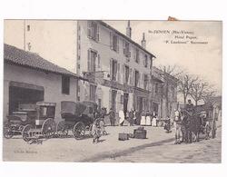 Rare CPA  Animée Saint-Junien (Haute-Vienne), Hôtel Du Commerce, Papon (P. Laudouze Succ.), A Voyagé En 1921 - Saint Junien