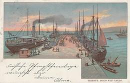 TRIESTE D'EPOCA,DETTAGLI MOLO SAN CARLO FORMATO PICCOLO ANNO 1901 VIAGGIATA - Trieste