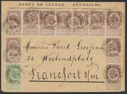 """N°55x10 + 56 Sur Lettre De St-Josse-Ten-Noode (1897) Vers Francfort / Verso Vignette """"Bruxelles 1897 Exposition"""" - 1893-1900 Thin Beard"""