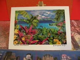 Lot 9 Photos - Originales > Dédicacées Eileem Seitz, Paysages Des Iles, Cartes Coller Sur Font Blanc - Dédicacées
