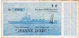 JEANNE D ARC  - BILLET - BON POUR 5 FRANCS -  PORTE HELICOPTERES  -ECOLE APPLICATION - Fictifs & Spécimens