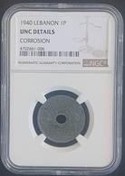 MA - Lebanon 1940 1 P Coin - NGC UNC DETAILS CORROSION - Lebanon