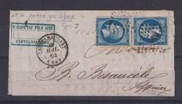 1862 - 2 EXEMPLAIRES Du NAPOLEON N° 14 Avec PERÇAGE / PERCÉ EN LIGNE De CASTELNAUDARY Sur GRAND FRAGMENT De FACTURE - 1853-1860 Napoléon III.