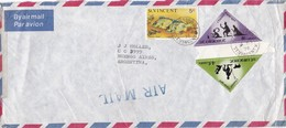 AIRMAIL CIRCULEE 1976 St VICENT A ARGENTINE TIMBRE AVEC BORD DU PLAQUE- BLEUP - St.-Vincent En De Grenadines