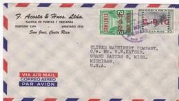 ACOSTA & HNOS LTDA. AIRMAIL CIRCULEE 1962 COSTA RICA A USA, AVEC SURTAXE ROUGE- BLEUP - Costa Rica