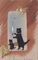 CPA En Celluloïd Peinte à La Main Chat Noir Cat Black Catze Chaton Bonne Année Illustrateur - Cats
