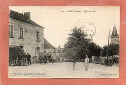 CPA - POILLé (72) - Aspect De La Place De L'Eglise En 1923 - France